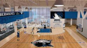 A computer-generated image of the Minnesota Timberwolves new practice facility partnered with The Mayo Clinic.