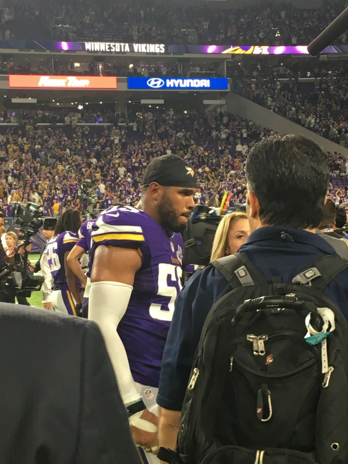 Minnesota linebacker Anthony Barr gets interviewed after Sunday's victory over Green Bay,
