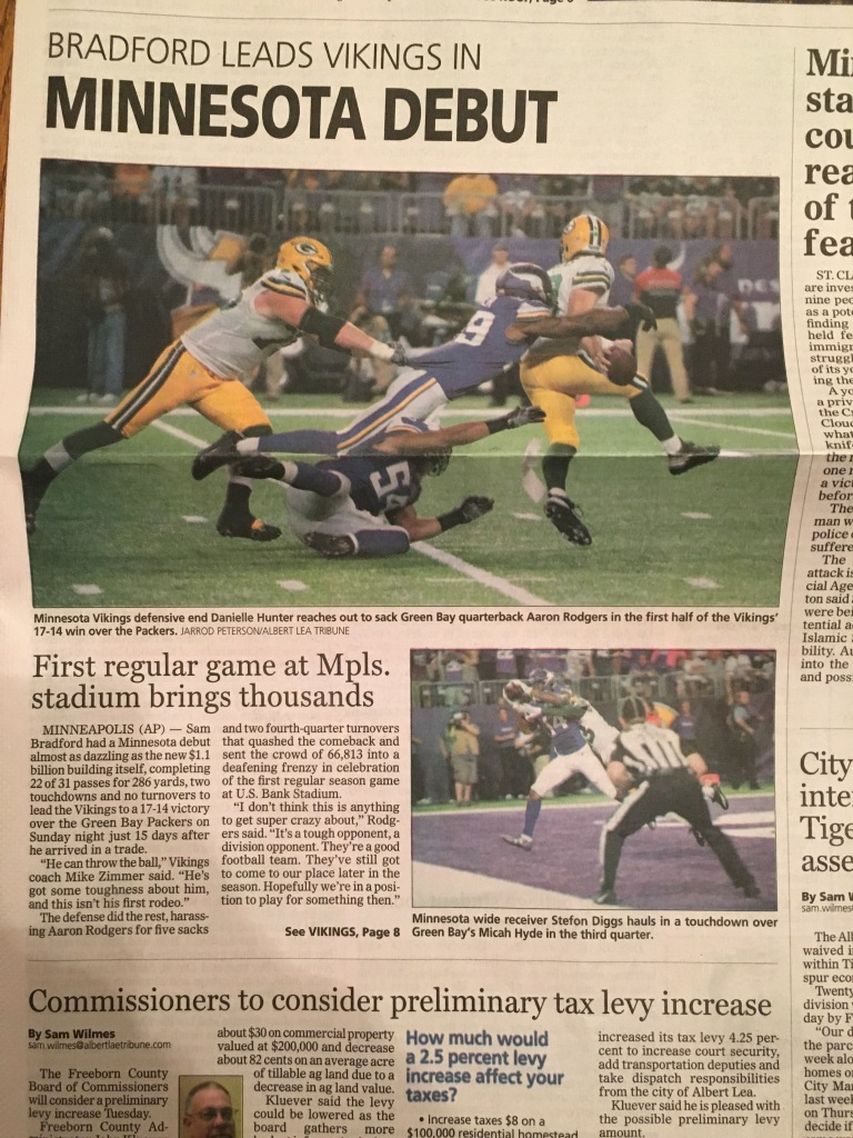 Some pictures I took that ran on the front page of The Albert Lea Tribune.